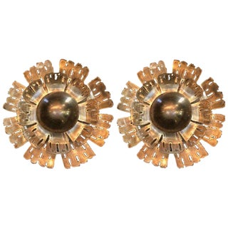Pair of Flame Danish Brass Flower Wall Lights by Holm Sørensen, 1960s For Sale