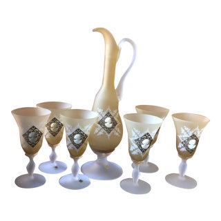 Italian Amber Glass Decanter Set - 7 Piece Set For Sale