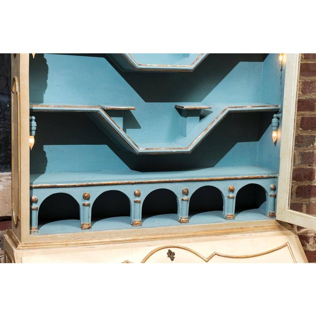 Italian Painted Secretary and Display Cabinet - Image 4 of 6