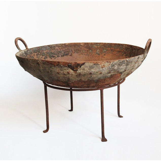 """Rustic primitive iron Kadai fire bowl on stand. 12"""" stand"""