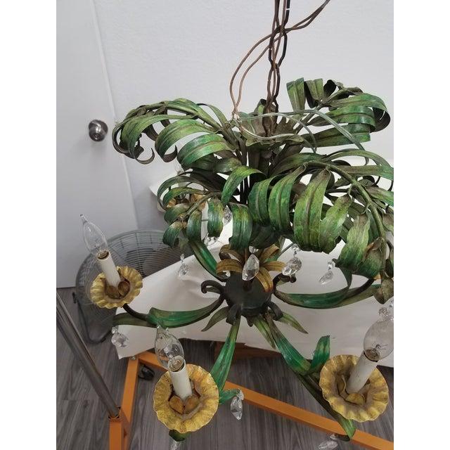 Vintage Pair of Hanging Colorful Leaf/Frond Lights - Flush Mount Ceiling For Sale - Image 4 of 13