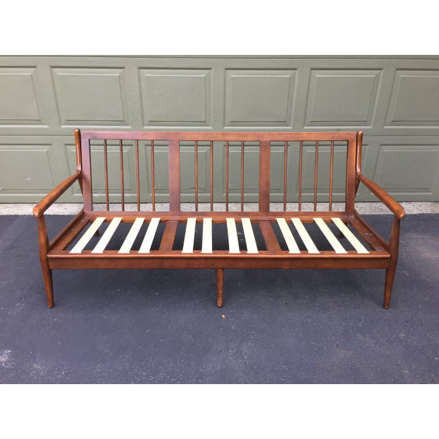 Wood Danish Modern Style Open Arm Sofa For Sale - Image 7 of 11