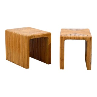 Gorgeous Pair of Split Bamboo End Tables For Sale
