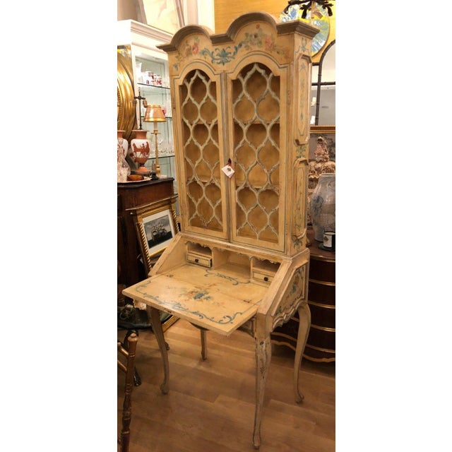Antique Italian Paint Decorated Secretary Desk For Sale In Los Angeles - Image 6 of 9