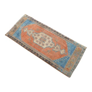 Hand Knotted Door Mat, Entryway Rug, Bath Mat, Kitchen Decor, Small Rug, Turkish Rug - 1′7″ × 3′8″ For Sale