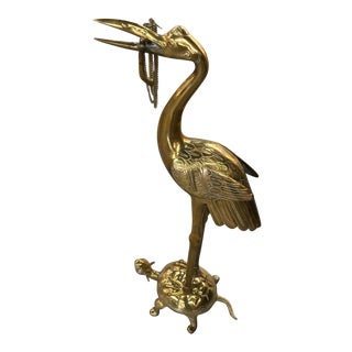 Mottedeh Crane and Turtle Brass Sculpture From the Nelson Rockefellar Collection