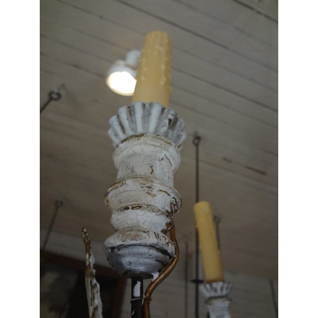 Iron 19th Century Italian Wood and Iron Chandelier For Sale - Image 7 of 11