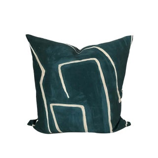 Graffito Teal Pillow Cover in Teal For Sale