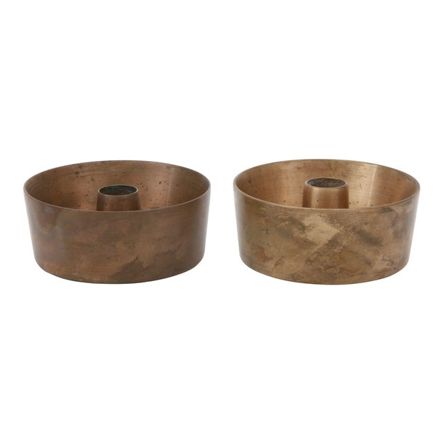 Mid-Century Brass Candle Holders - A Pair For Sale