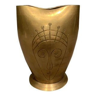 Sarna Brass Vase With Faces For Sale