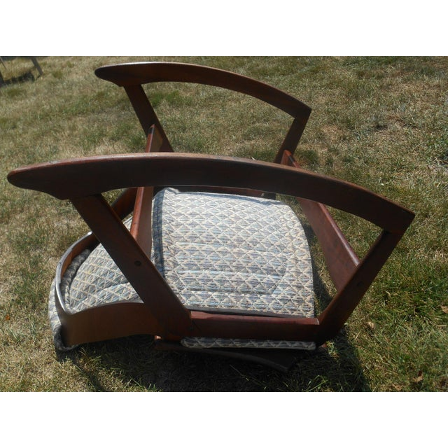 1960s Jerry Johnson Mid-Century Modern Walnut Sling Rocking Chair For Sale - Image 6 of 9
