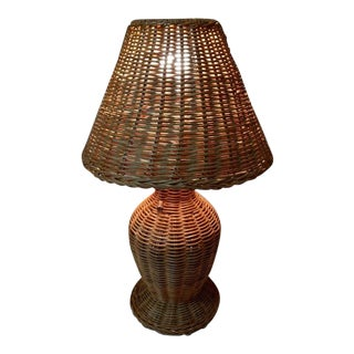 Vintage Wicker Table Lamp and Shade For Sale