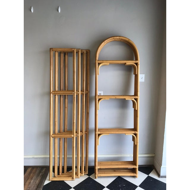 Palm Beach Style Rattan Shelving Unit For Sale - Image 4 of 12