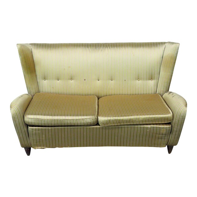 Italian Modern Gio Ponti Style Upholstered Sofa For Sale