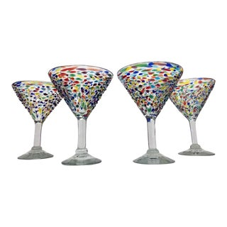 Hand-Blown Mexican Cocktail Glasses - Set of 4 For Sale