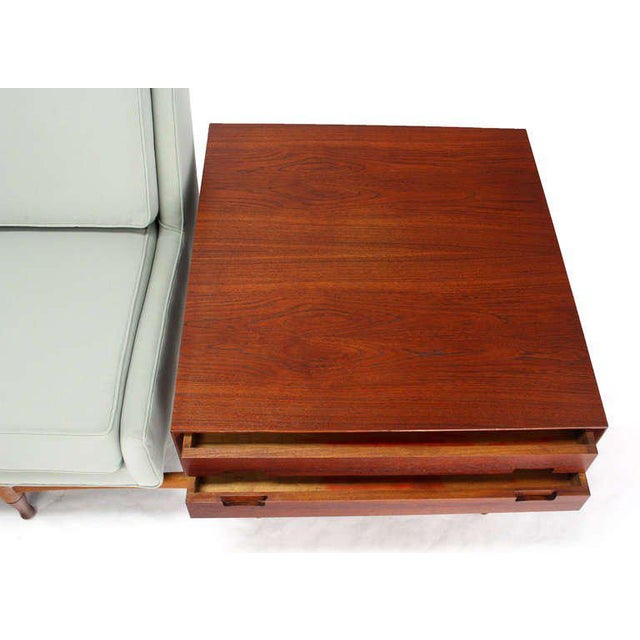 1960s Danish Mid Century Modern Sofa With Built in Teak End Side Tables For Sale - Image 5 of 10