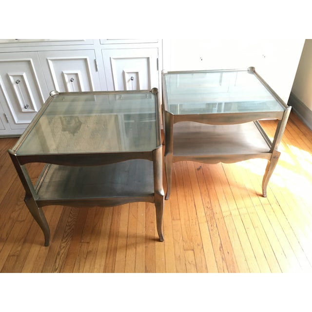 Leafed Glass Top Side Tables - a Pair For Sale - Image 11 of 13