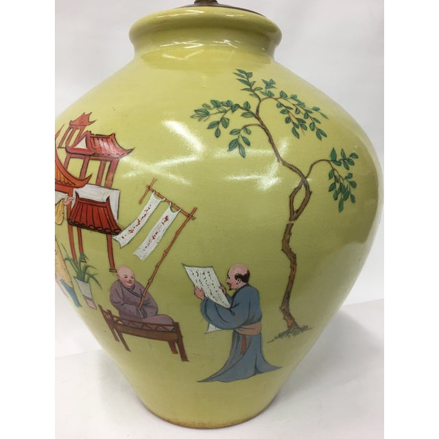 1960's Hand Painted Chinoiserie Scenery Lamp For Sale - Image 4 of 6