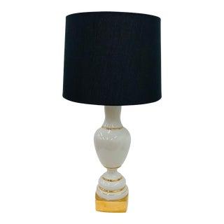 Antique Gold & White Porcelain Table Lamp For Sale