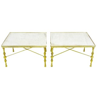 Brass Gallery and Carrara Marble Regency X-Base Side Tables For Sale