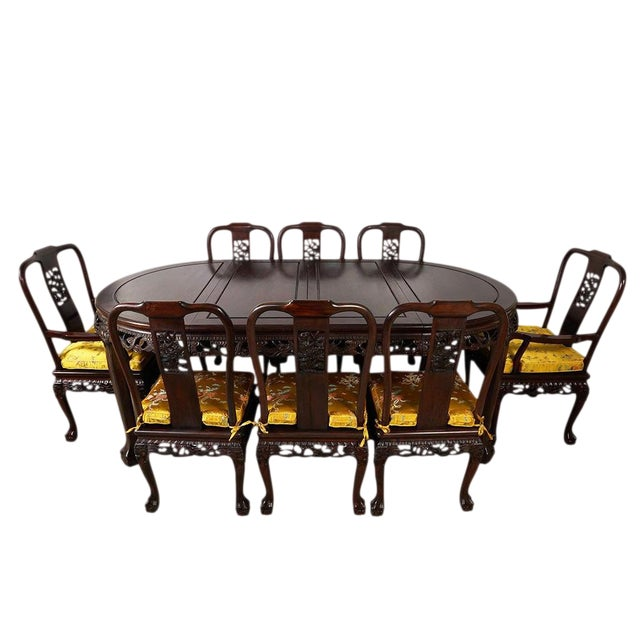 20th Century Chinese Carved Rosewood Dragon Dining Set For Sale