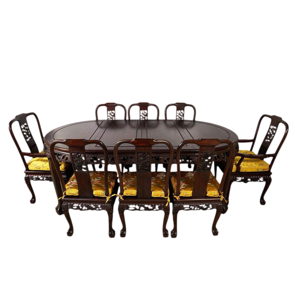 20th Century Chinese Carved Rosewood Dragon Dining Set