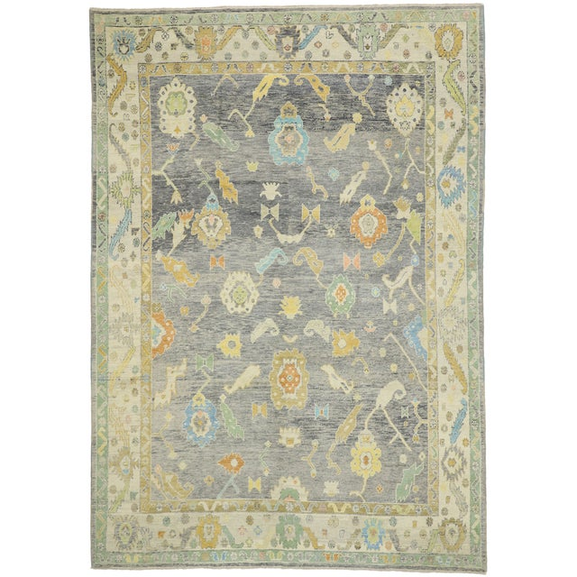 Contemporary Turkish Oushak Rug - 09'09 X 13'07 For Sale - Image 9 of 10