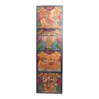 Vintage Vishnu Wall Panel Hindu Temple Wooden Statue Colorful Wall Hanging Wall Art For Sale