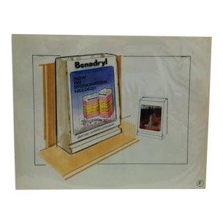 "1980s Original ""Benadryl - Now No Prescription Needed"" Displayco East Advertising Drawing For Sale"