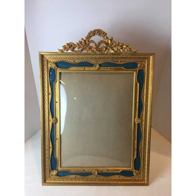 Antique French Gilt Bronze Ormolu & Green Guilloche Enamel Picture Frame For Sale - Image 11 of 11
