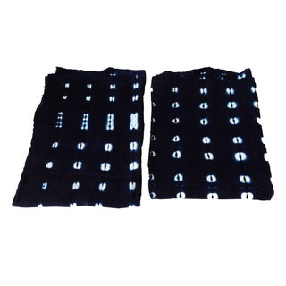 Malian Indigo Mud Cloth Textiles - A Pair For Sale