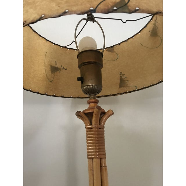 1950s Vintage Midcentury French Rattan Bamboo Floor Lamp with Original Parchment Shade For Sale - Image 12 of 13