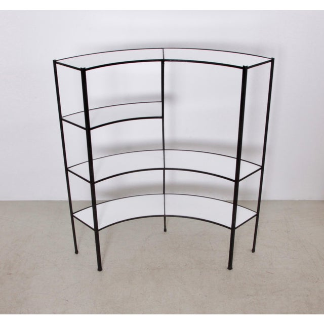 Black and White Vitrolite Glass Wrought Iron Shelf by Frederick Weinberg For Sale - Image 6 of 6