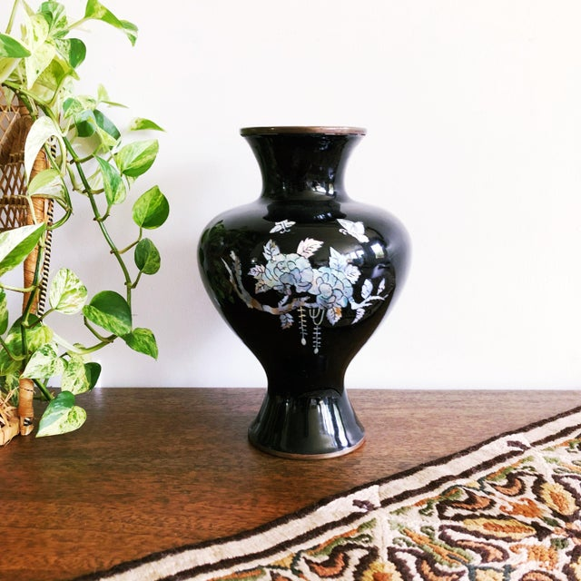 Metal Vintage Japanese Brass and Black Enamel Vase With Mother of Pearl Inlay For Sale - Image 7 of 7