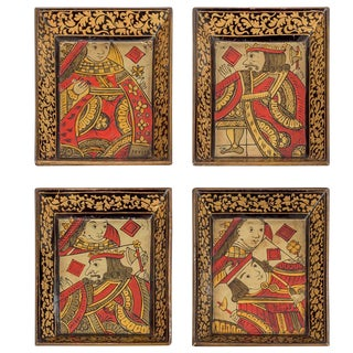 Set of Eight Chinese Canton Small Lacquered Trays For Sale