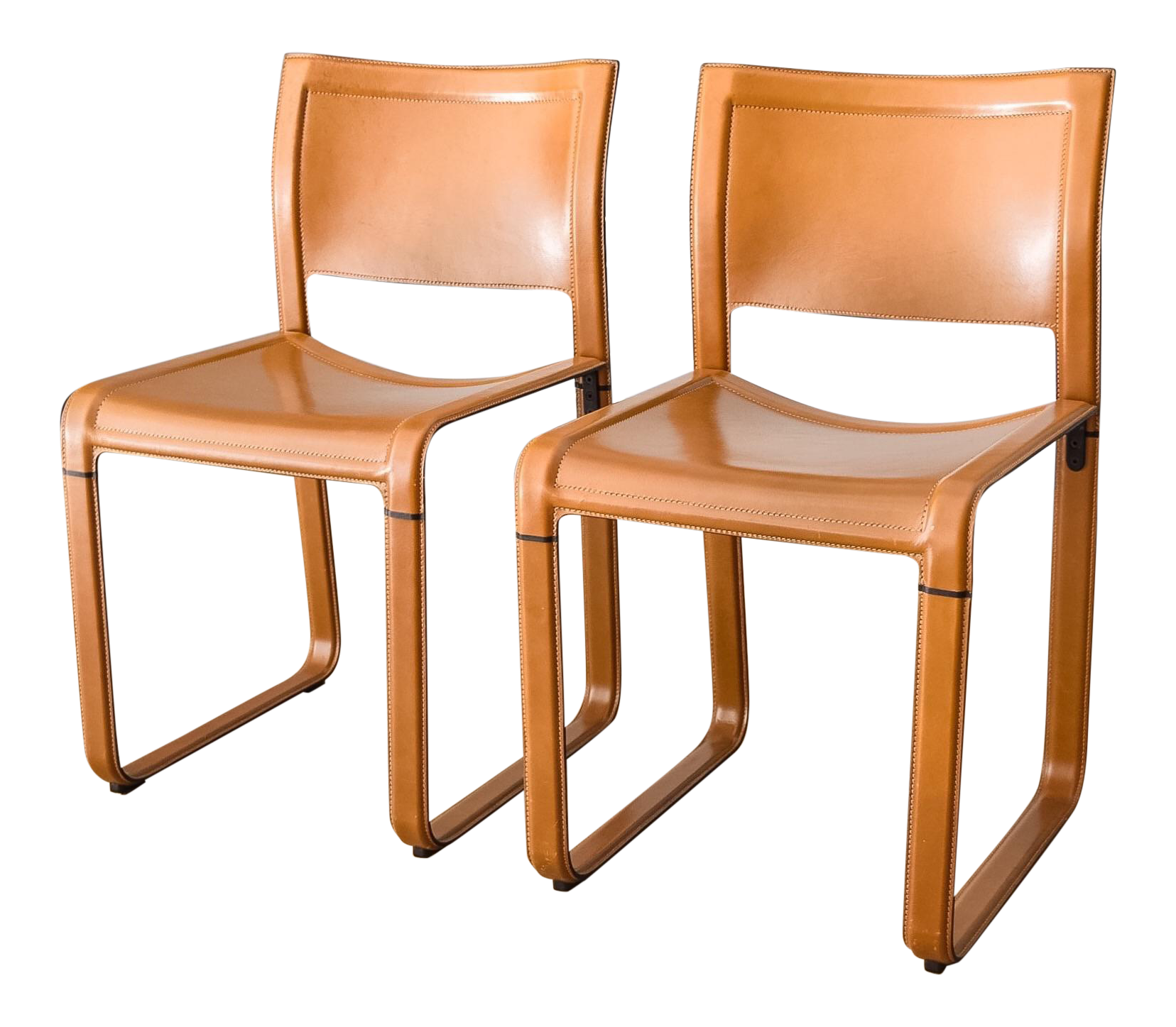 Matteo Grassi Sistina Strap Brown Leather Dining Chairs A Pair