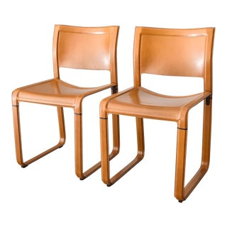 Matteo Grassi Sistina Strap Brown Leather Dining Chairs - A Pair