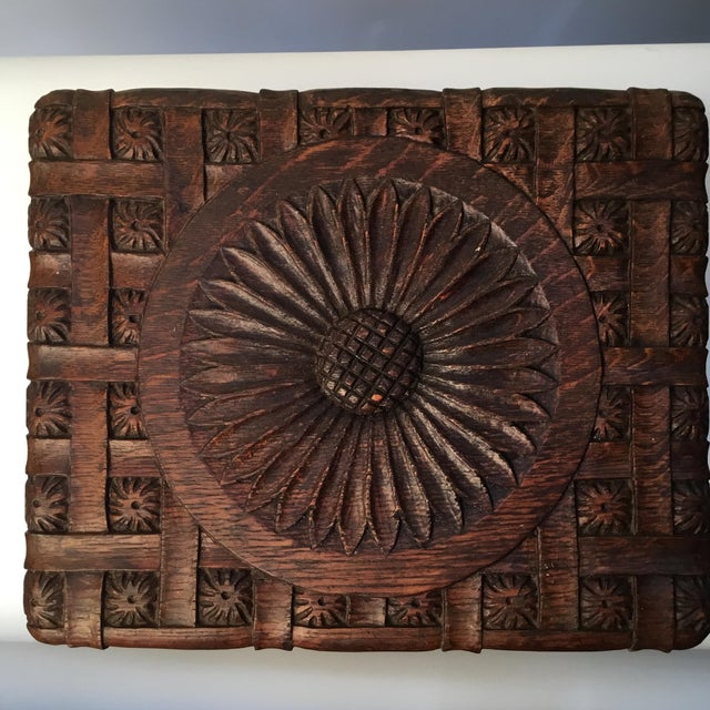 English 1900s Antique English Hand Carved Footstool For Sale - Image 3 of 12