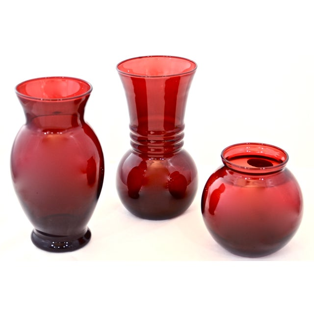 Ruby Red Vases - Set of 3 - Image 3 of 6