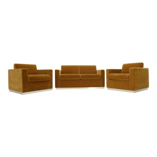 Three Pieces Mohair Living Room Set Club Chairs Love Seat Sofa For Sale