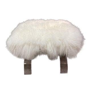 Tibetan Lamb Wool Lucite Bench For Sale
