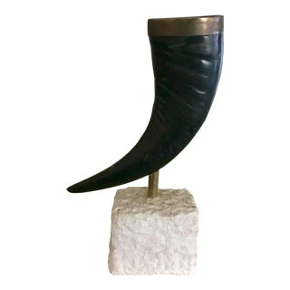 1980s Maitland Smith Faux Horn Vase on Pedestal For Sale