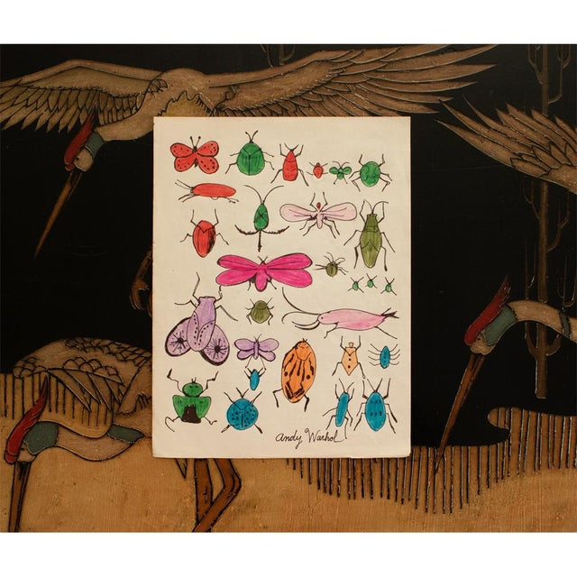 "1960s Andy Warhol ""Happy Bug Day!"", Original Large Drawing, Signed and Sealed For Sale - Image 5 of 9"