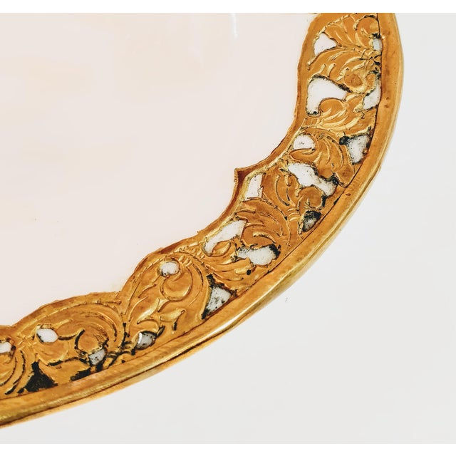 Mid 20th Century Vintage Shell & Brass Mother of Pearl Dish Oyster Tray For Sale - Image 5 of 13
