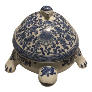 Vintage Delft Turtle/Tortoise With Lid Decor/Plant Flowers Trinket Box For Sale