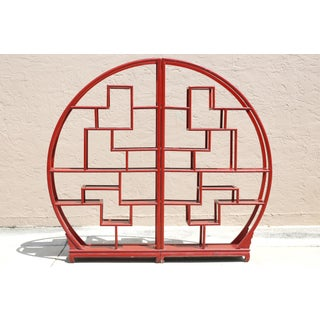 Vintage Half-Circle Red Lacquered Wood Etagere - a Pair Preview