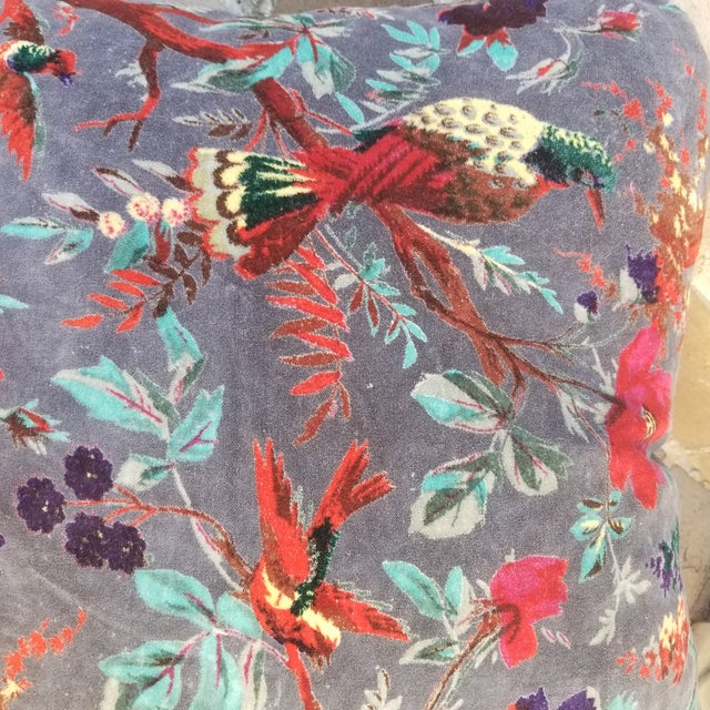 Chinoiserie Cotton Velvet Chinoiserie Pillows a Pair For Sale - Image 3 of 4