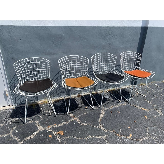 Midcentury white, steel side chairs by Bertoia, with OG leather cushions. Harry Bertoia's industrial Side Chair is a...