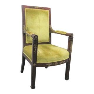19th Century Empire Mahogany Ormolu Mounted Chair