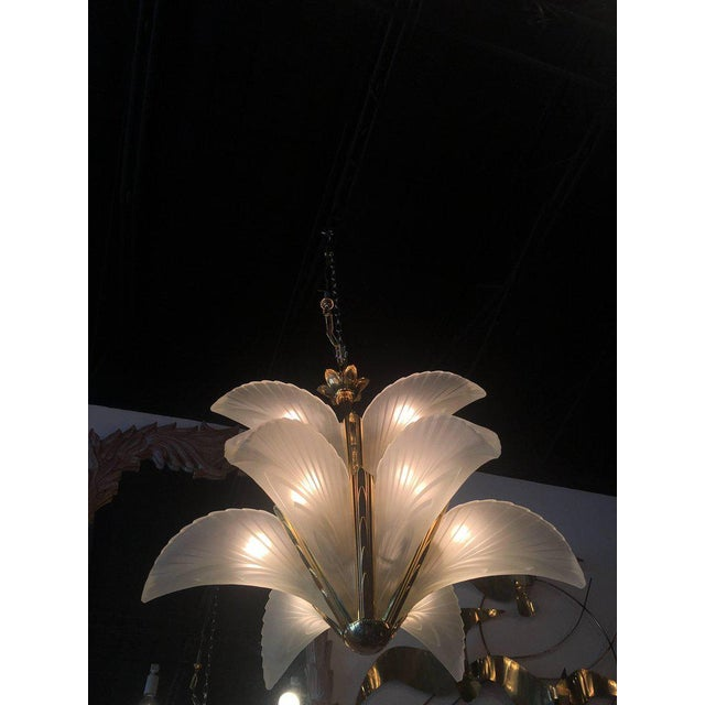 Italian Murano Glass & Brass Palm Tree Frond Leaf Chandelier - Image 6 of 12